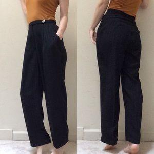 Vintage Pants - Perfect High Waist Flowy Silver Striped Black Pant